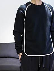 Men's Casual/Daily Active Sweatshirt Solid Round Neck Micro-elastic Cotton Long Sleeve Fall