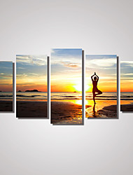 5 Panels  A women is praticing Yoga on the Beach Printed Canvas Painting For Modern Decoration for Livingroom Unframed
