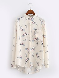 Women's Going out / Casual/Daily Simple / Street chic All Seasons / Fall Shirt,Animal Print Round Neck Long Sleeve WhiteCotton /