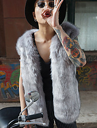 Men's Casual/Daily Street chic Fur Coat,Solid Stand Sleeveless Winter Gray Faux Fur Thick