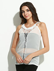 Women's Sexy Patchwork Lace Chiffon Strap Sleeveless Hollow Out Vest
