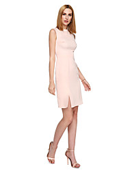 TS Couture® Cocktail Party Dress Sheath / Column Jewel Knee-length Stretch Satin with Split Front