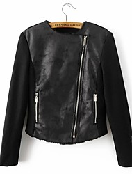 Women's Going out / Casual/Daily Simple / Street chic Leather Jackets,Solid Asymmetrical Long Sleeve Fall / Winter Black PU / Polyester