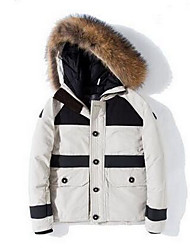 Men's Long Down Coat,Simple Casual/Daily Solid-Cotton White Duck Down Long Sleeve Hooded Beige