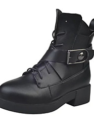 Women's Fashion Combat Boots Motocycle boots Outdoor Casual High Top Leather Boots Low Heel Buckle / Lace-up Black