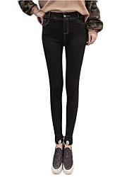 Damen Skinny Jeans Hose-Lässig/Alltäglich Einfach einfarbig Hohe Hüfthöhe Knopf Polyester Dehnbar Herbst / Winter