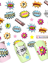 1Sheets Nail Art Wraps NEW Fashion Hello Designs Latter Printing Nail Sticker