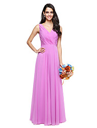 2017 Lanting Bride® Floor-length Chiffon Elegant Bridesmaid Dress - A-line V-neck with Bow(s)
