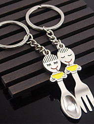 Stainless Steel Favors-2pc Piece/Set Couples Keychains Beach/Garden/Fairytale Theme Non-personalised Character Spoon Fork Design