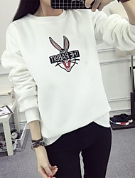Women's Casual/Daily Sports Going out Active Street chic Cute Sweatshirt Print Round Neck Fleece Lining Micro-elastic PolyesterLong