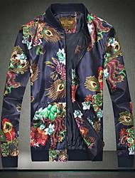 Herren Druck Einfach Ausgehen / Lässig/Alltäglich Jacke,Sommer Ständer Langarm Blau Baumwolle