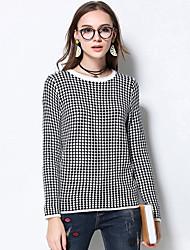 Damen Kurz Pullover-Lässig/Alltäglich Übergröße Retro Hahnentrittmuster Weiß Rundhalsausschnitt Langarm Wolle Acryl Polyester Winter