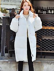 Feminino Longo Casaco Acolchoado,Moda de Rua / Sofisticado Sólido Trabalho / Esportivo-Algodão Polipropileno Manga Longa Colarinho Chinês