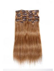 9pcs / set clipe de 120g de luxo em extensões do cabelo castanho cabelo humano de 16 polegadas 20 polegadas 100% reta marrom para mulheres