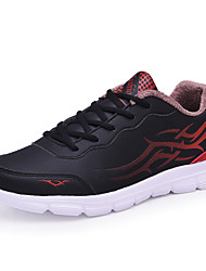 Men's Sneakers Comfort Sports Shoes Casual Running Shoes Warm Cotton Shoes Flat Heel Lace-up Black and Red Size38-45
