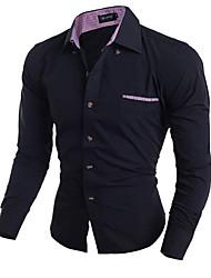 Men's Formal / Holiday Simple / Street chic Fall Shirt,Solid Shirt Collar Long Sleeve Blue / Red / White / Black Cotton Medium