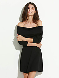 Women's Casual/Daily Simple Slim Off-The-Shoulder Sheath Dress,Solid Boat Neck Above Knee Long Sleeve Black