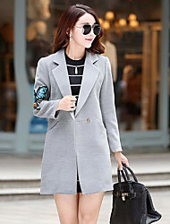 Women's Casual/Daily Simple Coat,Solid Shirt Collar Long Sleeve Blue / Pink / Red / White Polyester