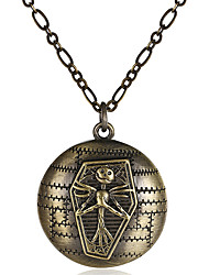 Vintage Alloy Box Jack Skellington Coffin Floating Locket Charm Pendant Necklace Long Skull Carving Chain Necklace