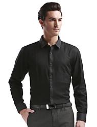 SEVEN Men's Formal Street chic Winter ShirtPrint Shirt Collar Long Sleeve Black Cotton Medium