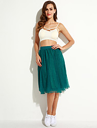 Women's Beach/Casual/Cute Micro-elastic Medium Midi Skirts (Chiffon/Polyester)