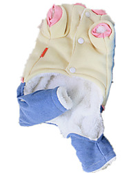 Dog Clothes/Jumpsuit Blue / Beige Dog Clothes Winter / Spring/Fall Letter & Number Keep Warm
