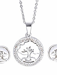 Kalen Popular Jewelry Sets Stainless Steel Rhinestone Tree of Life Pendant Necklace And Clip Earrings Sets Best Birthday Gifts For Girls Women
