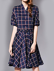 Women's Casual/Daily Sophisticated Sheath Dress,Plaid V Neck Knee-length ½ Length Sleeve Blue Polyester All Seasons High Rise Inelastic