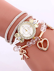 Fashion Women Love Heart Pendant Bracelet Watch Wholesale Casual Ladies Girl Rope Weave Diamond Dress Quartz Watch