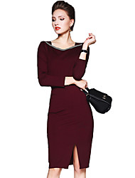 Women's Casual/Daily / Work Sexy Bodycon Dress,Patchwork Round Neck Knee-length Long Sleeve Red / Black Polyester Fall Mid Rise