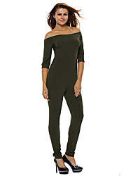 Women's Olive Green Bardot Neckline Fashion Jumpsuit