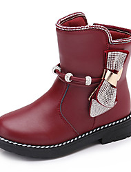 Kids Girl's Boots Spring / Fall / Winter Comfort / Ankle Strap Leather Outdoor / Casual Low Heel Zipper Red / Brown / Black