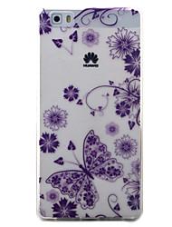 Pour huawei y5ii y6ii couverture de boîtier motif papillon peint matériel tpu matériel téléphone pour y625 y635 5x p9 p8 lite