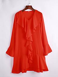 Mousseline de Soie Robe Aux femmes Décontracté / Quotidien Chic de Rue,Couleur Pleine Col en V Au dessus du genou Manches Longues Orange