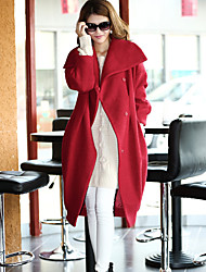 Women's Going out Vintage Coat,Solid Long Sleeve White Wool