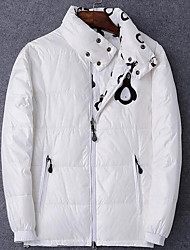 Men's Long Down Coat,Simple Casual/Daily Solid-Cotton White Duck Down Long Sleeve Stand White