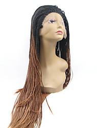sylvia laço sintético frente peruca de cabelo trançado preto ombre preto para Auburn reta menores tranças aquecer perucas sintéticas