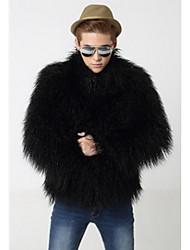 Masculino Casaco de Pêlo Informal / Casual estilo antigo Inverno,Sólido Preto Pêlo Sintético Decote Redondo-Manga Longa Grossa