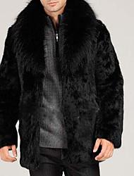 Men's Plus Size / Casual/Daily Simple Fur Coat,Solid Long Sleeve Black Faux Fur