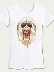 Tee-shirt Femme,Couleur Pleine / Imprimé Sortie / Plage simple Eté Manches Courtes Col Arrondi Blanc Coton Moyen