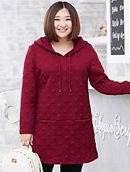 Long Hoodies Femme Décontracté / Quotidien / Grandes Tailles simple,Couleur Pleine Rouge Capuche Manches Longues Coton / Polyester Automne