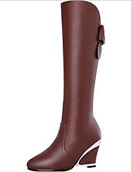 Women's Heels Fall Winter Comfort Glitter PU Dress Casual Chunky Heel Sparkling Glitter Flower Black Coffee Walking