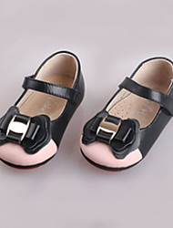 Girl's Flats Spring Fall Others Comfort Leather Casual Flat Heel Bowknot Magic Tape Black Others