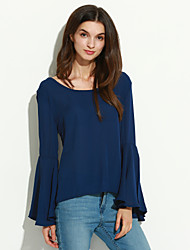 Women's Flare Sleeve Solid Blue Blouse,Round Neck Long Sleeve
