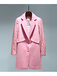 Women's Casual/Daily / Party/Cocktail Simple Coat,Solid Shirt Collar Long Sleeve Fall Pink / White Wool Medium