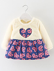 Girl's Casual/Daily Print Dress,Cotton Winter Fall Long Sleeve