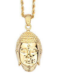 Kalen New Stainless Steel 18K Gold Plated Buddha Pendant Necklace China Lucky Buddha Twisted Long Chain Necklace For Men Gifts