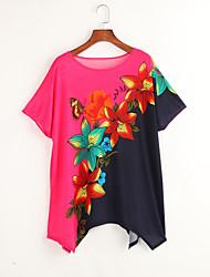 Tee-shirt Aux femmes,Fleur Décontracté / Quotidien Bohème / Chic de Rue Eté Manches Courtes Col Arrondi Rose Rayonne Fin