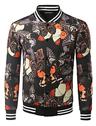 Men's Casual/Daily Simple Jackets,Print Stand Long Sleeve Winter / Autumn Yellow Polyester Thick