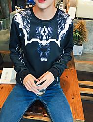 Herren Pullover Lässig/Alltäglich Einfach Leopard Rundhalsausschnitt Mikro-elastisch Polyester Langarm